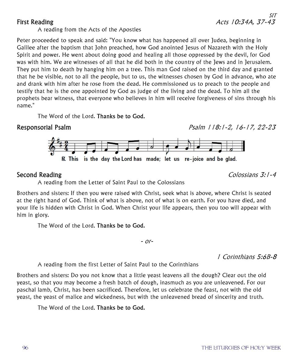 SIT  Acts 10 34A, 37-43  First Reading  A reading from the Acts of the Apostles  Peter proceeded to speak and said   Y...