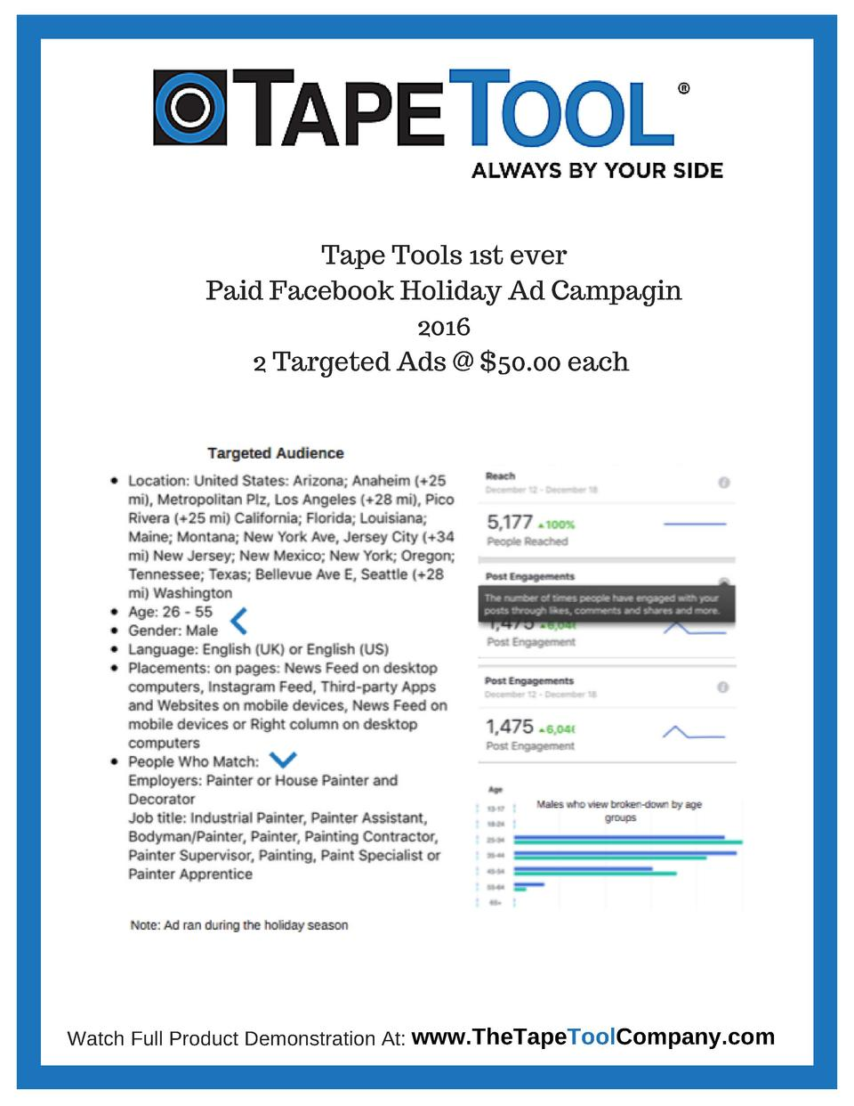 Tape Tools 1st ever Paid Facebook Holiday Ad Campagin 2016 2 Targeted Ads    50.00 each  Watch Full Product Demonstration ...