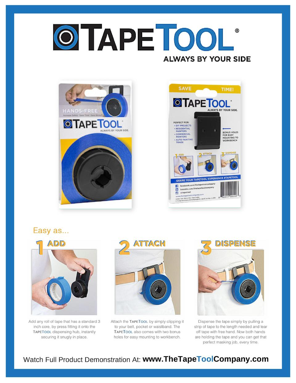 Watch Full Product Demonstration At  www.TheTapeToolCompany.com