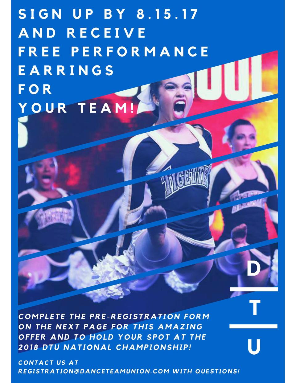 SIGN UP BY 8.15.17 AND RECEIVE FREE PERFORMANCE EARRINGS FOR YOUR TEAM   D COMPLETE THE PRE-REGISTRATION FORM ON THE NEXT ...