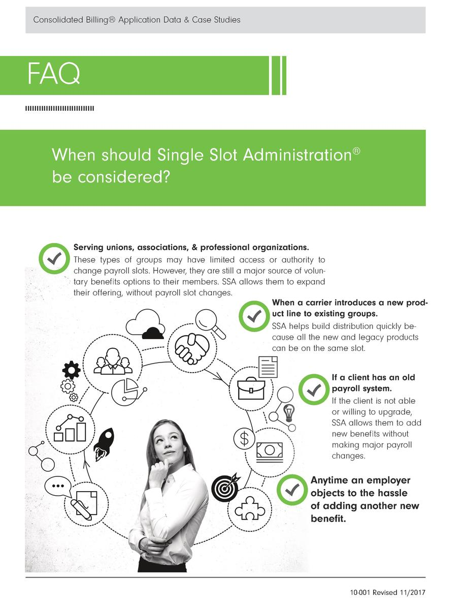 Consolidated Billing   Application Data   Case Studies  FAQ When should Single Slot Adminsitration   be considered   Servi...
