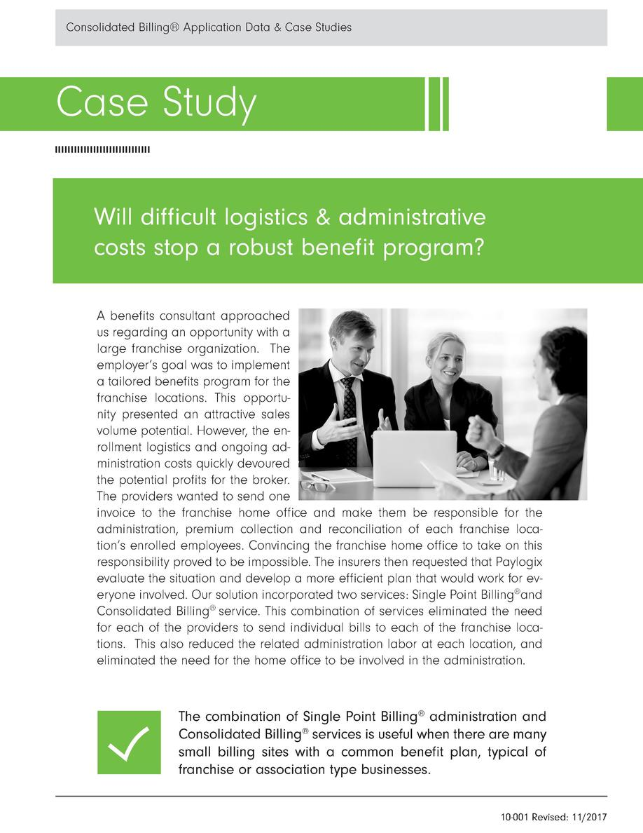 Consolidated Billing   Application Data   Case Studies  Case Study Will di   cult logistics   administrative costs stop a ...