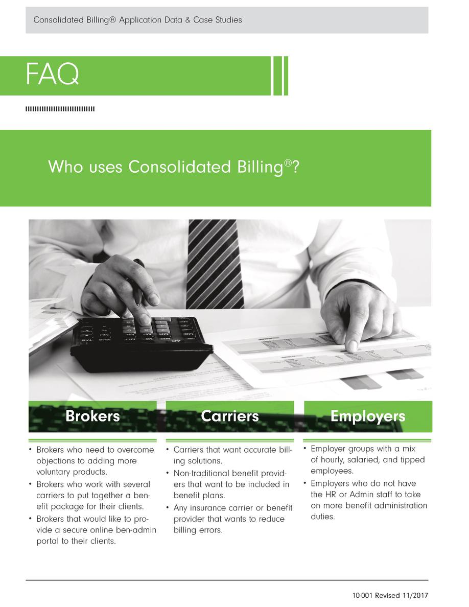 Consolidated Billing   Application Data   Case Studies  FAQ Who uses Consolidated Billing     Brokers  Carriers      Broke...