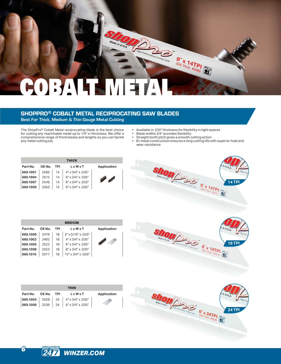 COBALT METAL SHOPPRO   COBALT METAL RECIPROCATING SAW BLADES Best For Thick, Medium   Thin Gauge Metal Cutting The ShopPro...