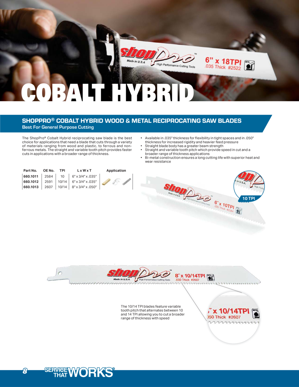 COBALT HYBRID SHOPPRO   COBALT HYBRID WOOD   METAL RECIPROCATING SAW BLADES Best For General Purpose Cutting The ShopPro  ...