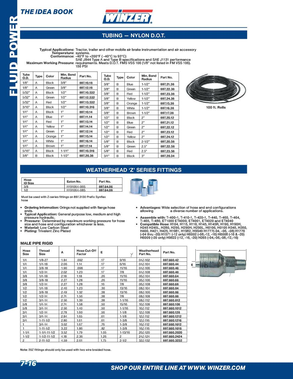FLUID POWER  THE IDEA BOOK TUBING     NYLON D.O.T. Typical Applications  Tractor, trailer and other mobile air brake instr...