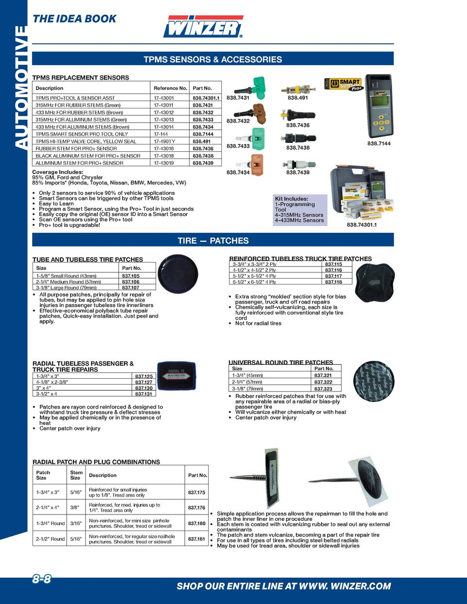 AUTOMOTIVE  THE IDEA BOOK  TPMS SENSORS   ACCESSORIES  TPMS REPLACEMENT SENSORS Description  Reference No.  Part No.  TPMS...