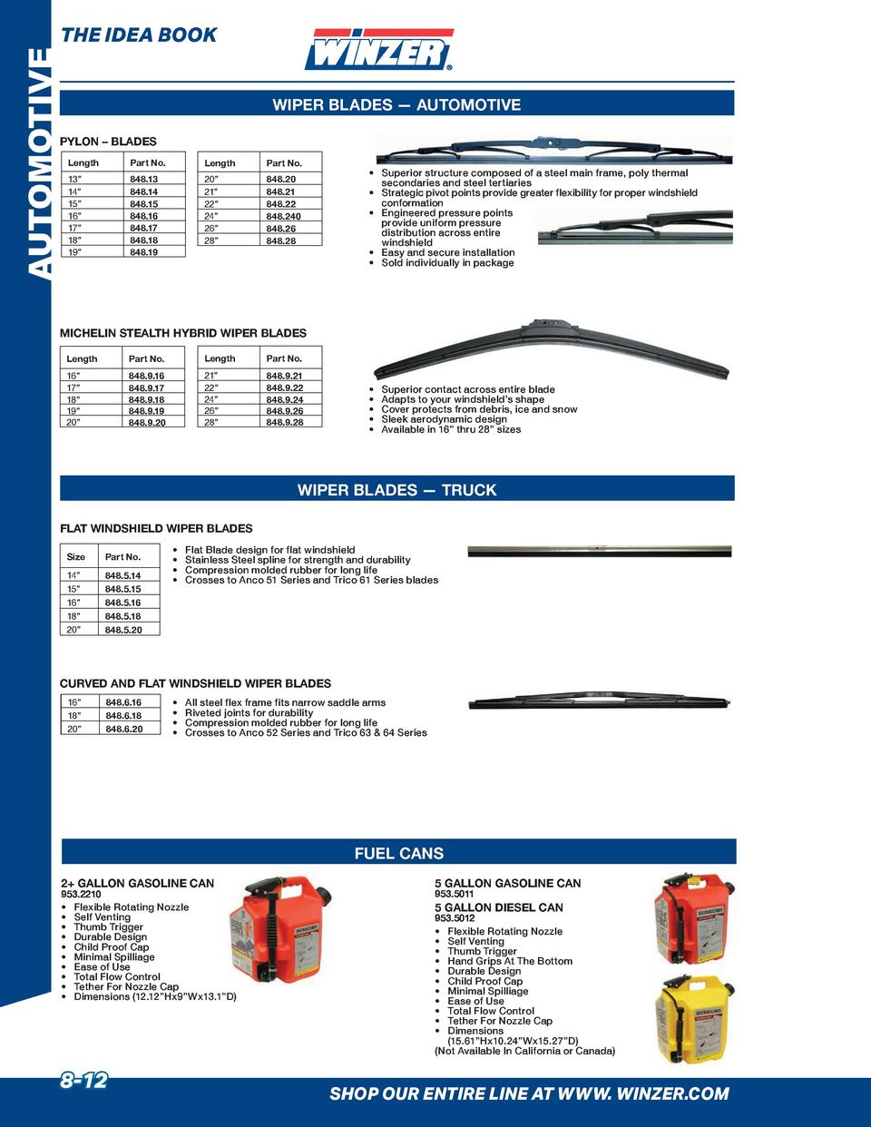 AUTOMOTIVE  THE IDEA BOOK WIPER BLADES     AUTOMOTIVE  PYLON     BLADES Length  Part No.  Length  Part No.  13    14    15...