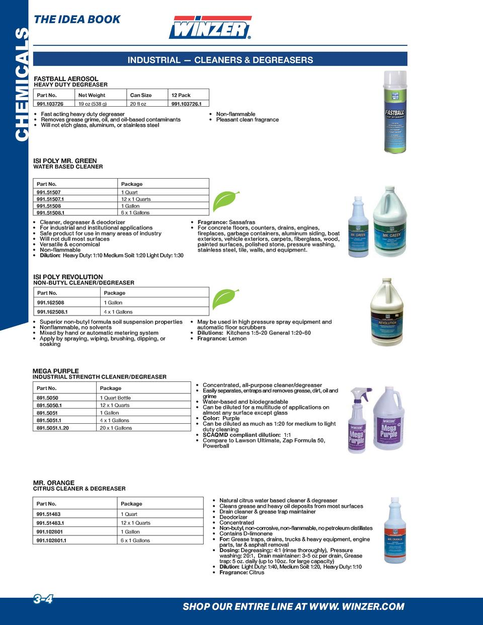 CHEMICALS  THE IDEA BOOK INDUSTRIAL     CLEANERS   DEGREASERS FASTBALL AEROSOL  HEAVY DUTY DEGREASER Part No.  Net Weight ...