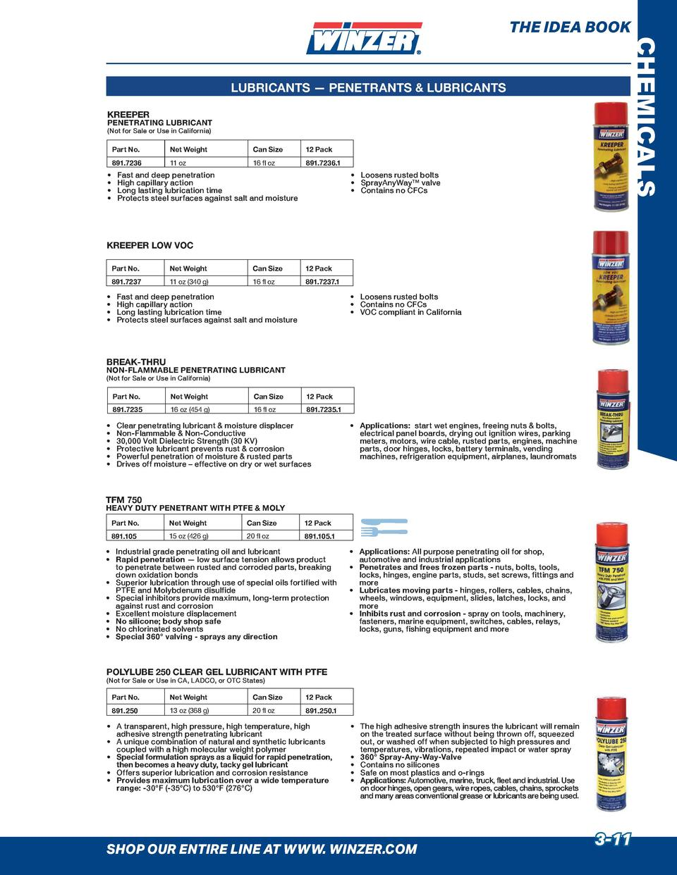 THE IDEA BOOK  CHEMICALS  LUBRICANTS     PENETRANTS   LUBRICANTS KREEPER  PENETRATING LUBRICANT  Not for Sale or Use in Ca...