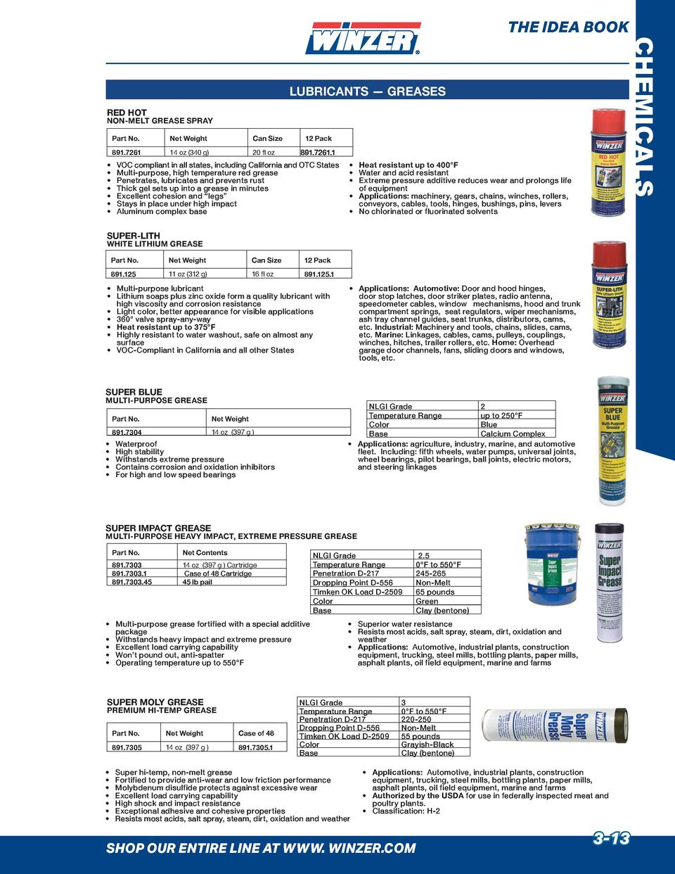 THE IDEA BOOK  CHEMICALS  LUBRICANTS     GREASES RED HOT  NON-MELT GREASE SPRAY Part No.  Net Weight  Can Size  891.7261  ...