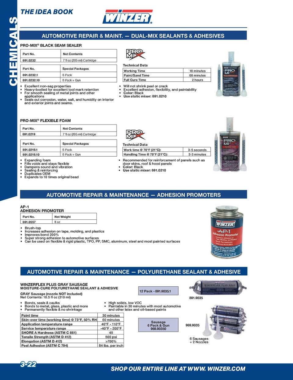 CHEMICALS  THE IDEA BOOK AUTOMOTIVE REPAIR   MAINT.     DUAL-MIX SEALANTS   ADHESIVES  PRO-MIX   BLACK SEAM SEALER Part No...