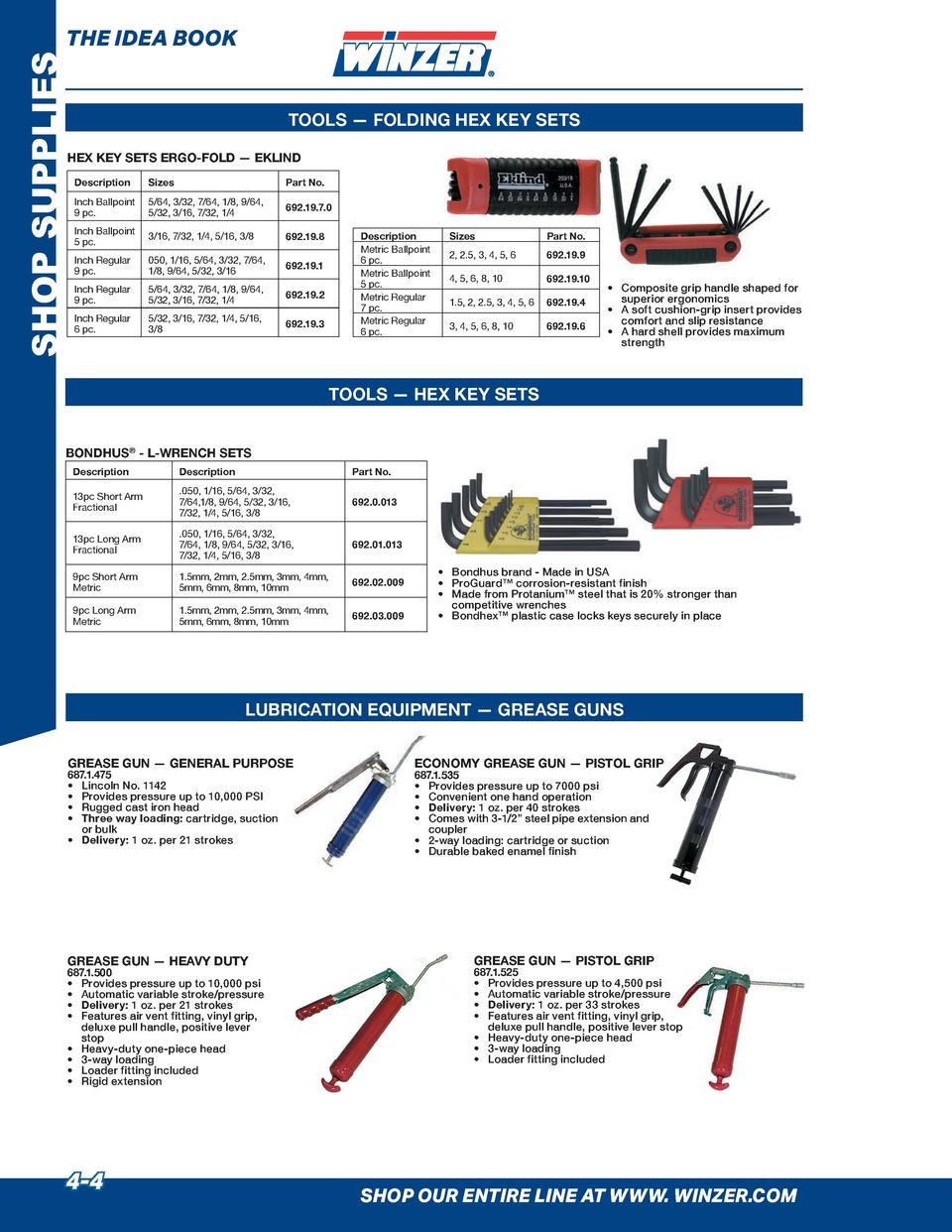 SHOP SUPPLIES  THE IDEA BOOK  TOOLS     FOLDING HEX KEY SETS  HEX KEY SETS ERGO-FOLD     EKLIND Description  Sizes  Part N...