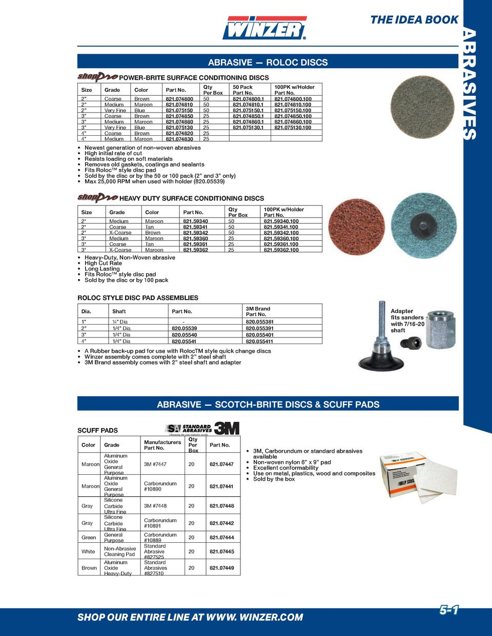 THE IDEA BOOK  ABRASIVES  ABRASIVE     ROLOC DISCS POWER-BRITE SURFACE CONDITIONING DISCS Size  Grade  Color  Part No.  2 ...