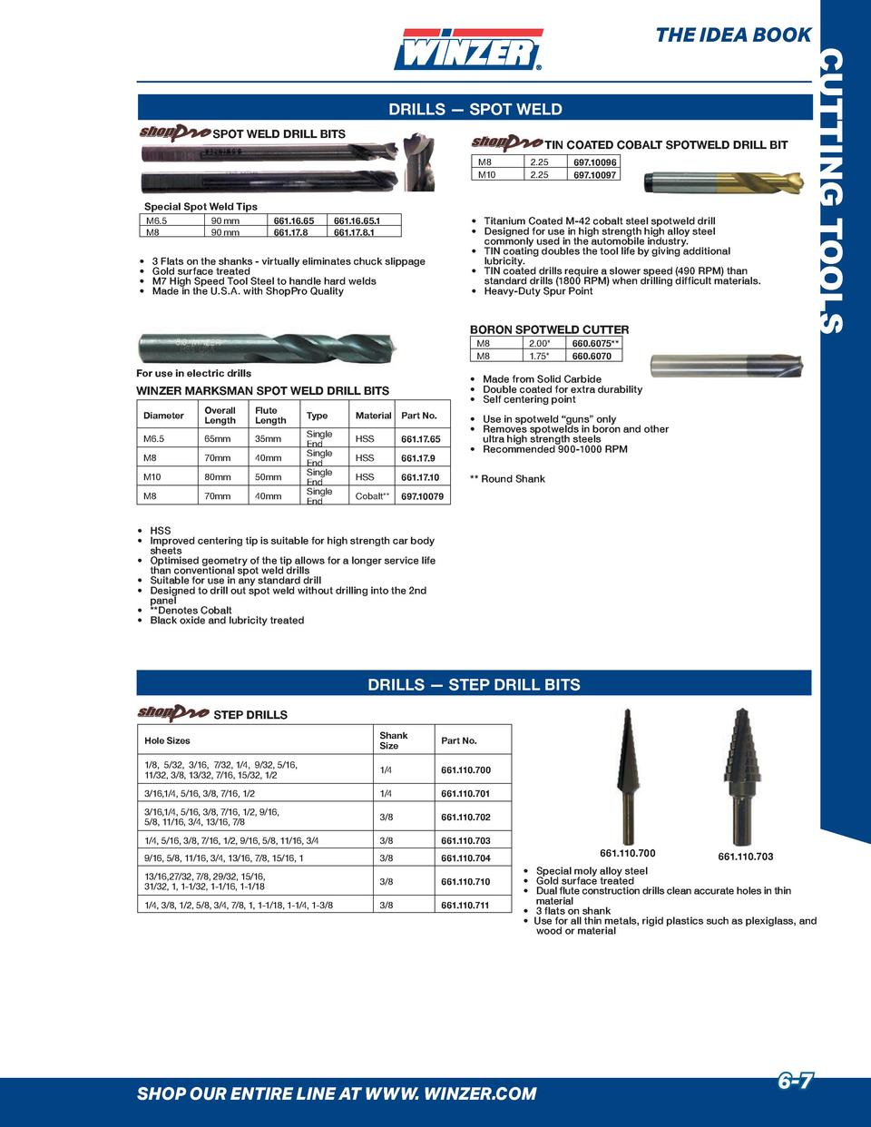 THE IDEA BOOK  SPOT WELD DRILL BITS  TIN COATED COBALT SPOTWELD DRILL BIT M8 M10  Special Spot Weld Tips M6.5 M8          ...