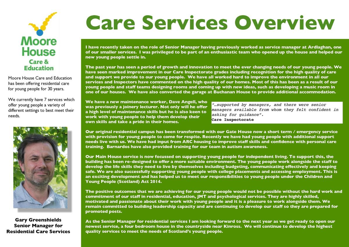 Care Services Overview I have recently taken on the role of Senior Manager having previously worked as service manager at ...