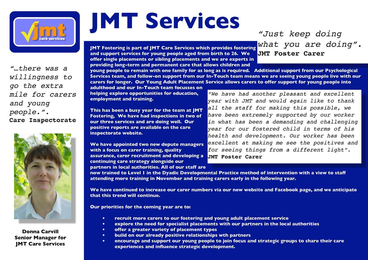 JMT Services     Just keep doing what you are doing   . JMT Fostering is part of JMT Care Services which provides fosterin...