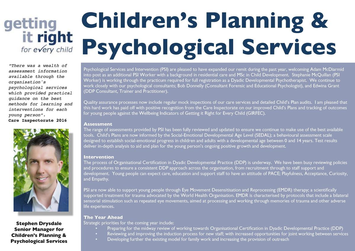 Children   s Planning   Psychological Services    There was a wealth of assessment information available through the organ...