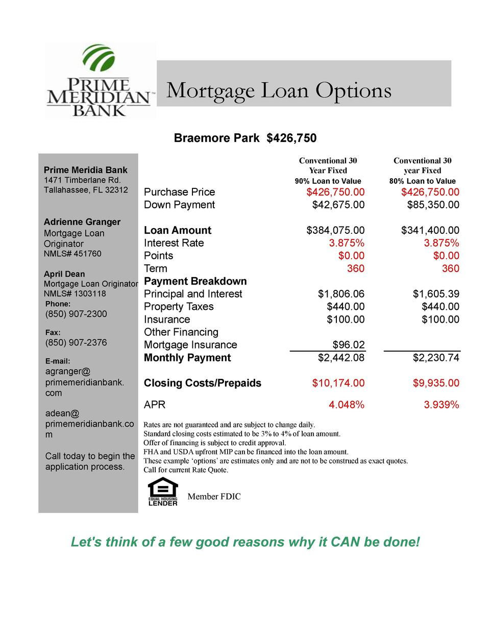 Mortgage Loan Options Braemore Park  426,750 Prime Meridia Bank 1471 Timberlane Rd. Tallahassee, FL 32312  Adrienne Grange...