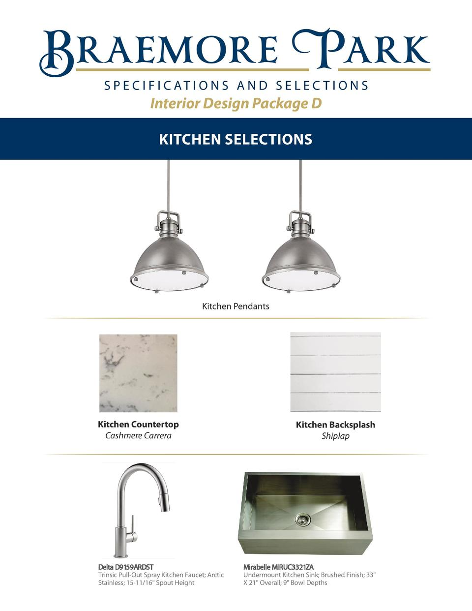 S P E C I F I C AT I O N S A N D S E L E C T I O N S  Interior Design Package D KITCHEN SELECTIONS  Kitchen Pendants  Kitc...