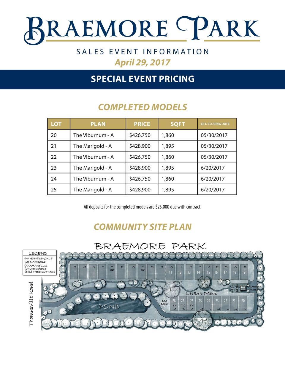S A L E S E V E N T I N F O R M AT I O N  April 29, 2017 SPECIAL EVENT PRICING COMPLETED MODELS LOT  PLAN  PRICE  SQFT  ES...
