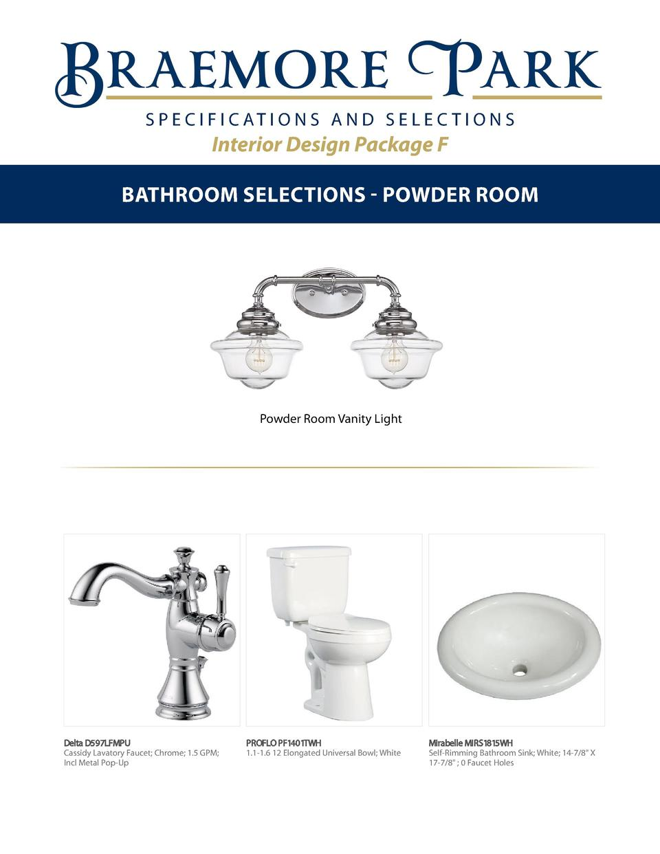 S P E C I F I C AT I O N S A N D S E L E C T I O N S  Interior Design Package F Bathroom Selections - Powder Room  Powder ...