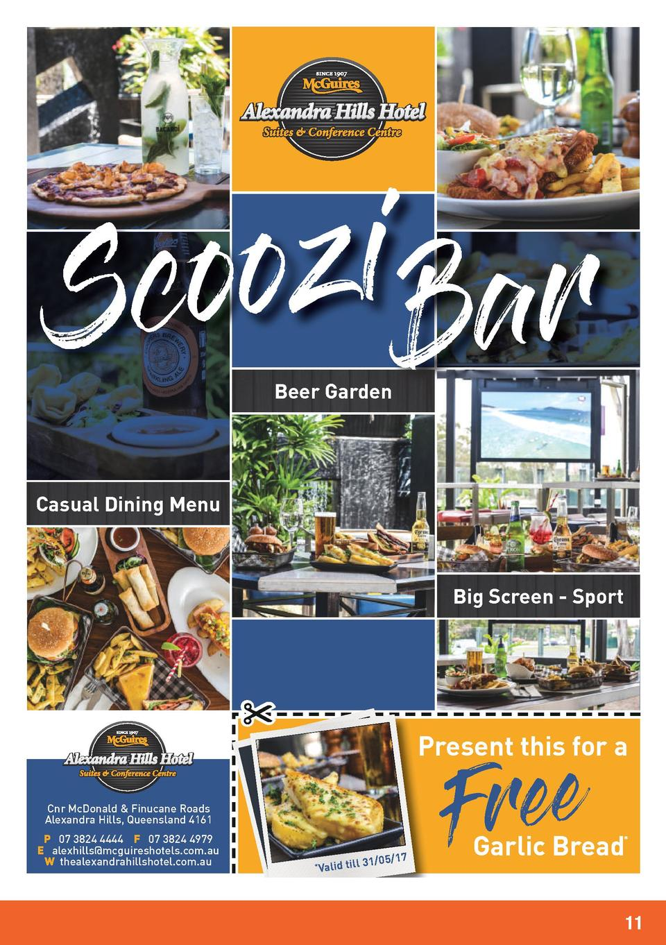 i z o o c S Bar Beer Garden  Casual Dining Menu  Big Screen - Sport  Present this for a Cnr McDonald   Finucane Roads Alex...