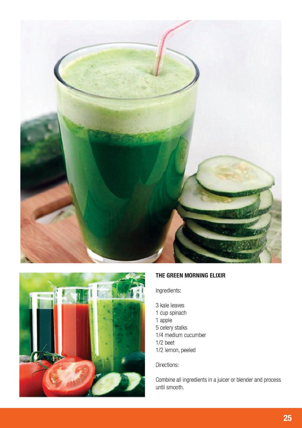 THE GREEN MORNING ELIXIR Ingredients  3 kale leaves 1 cup spinach 1 apple 5 celery stalks 1 4 medium cucumber 1 2 beet 1 2...