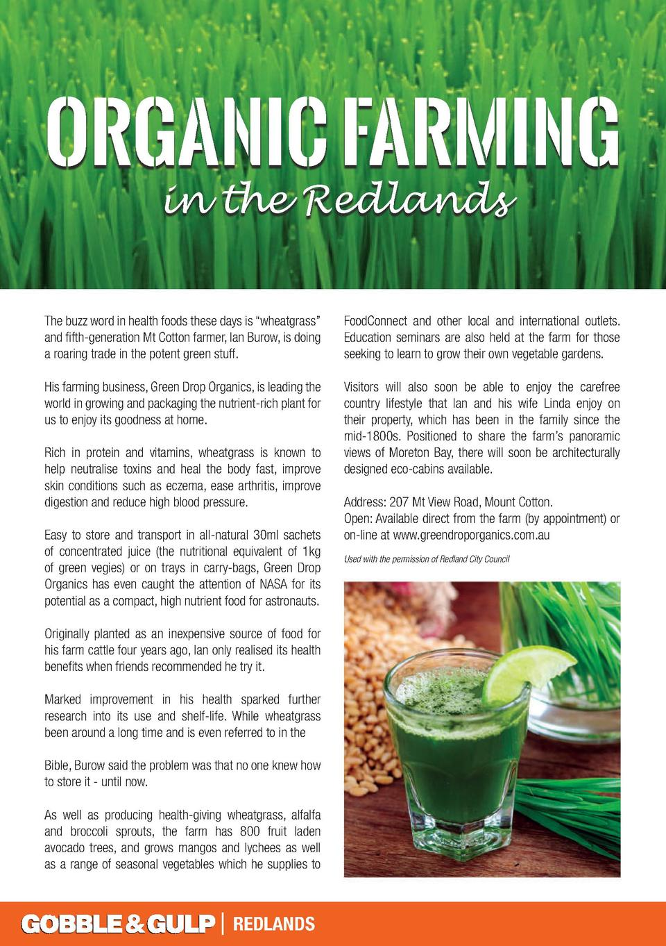 ORGANIC FARMING in the Redlands  The buzz word in health foods these days is    wheatgrass       and fifth-generation Mt C...