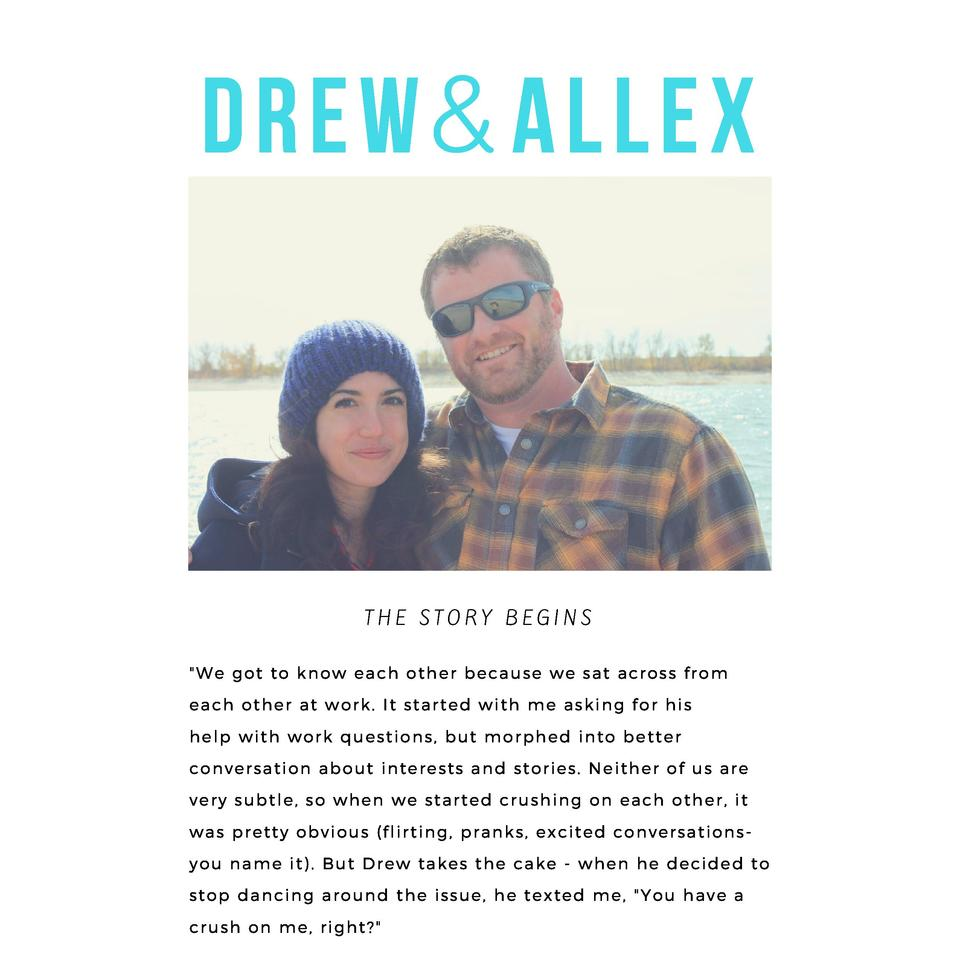 DREW     ALLEX  THE STORY BEGINS  We got to know each other because we sat across from each other at work. It started with...