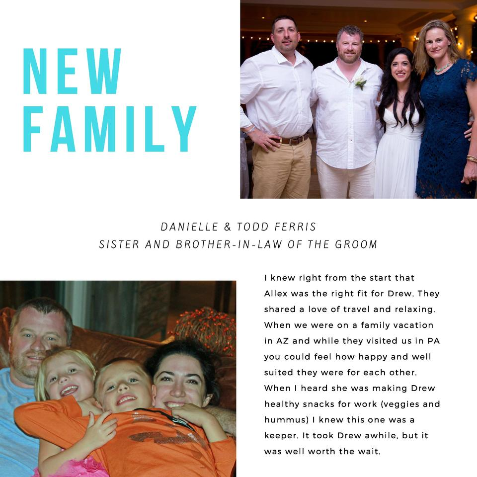 NEW FAMILY DANIELLE   TODD  FERRIS SISTER AND BROTHER-IN-LAW OF THE GROOM I knew right from the start that Allex was the r...