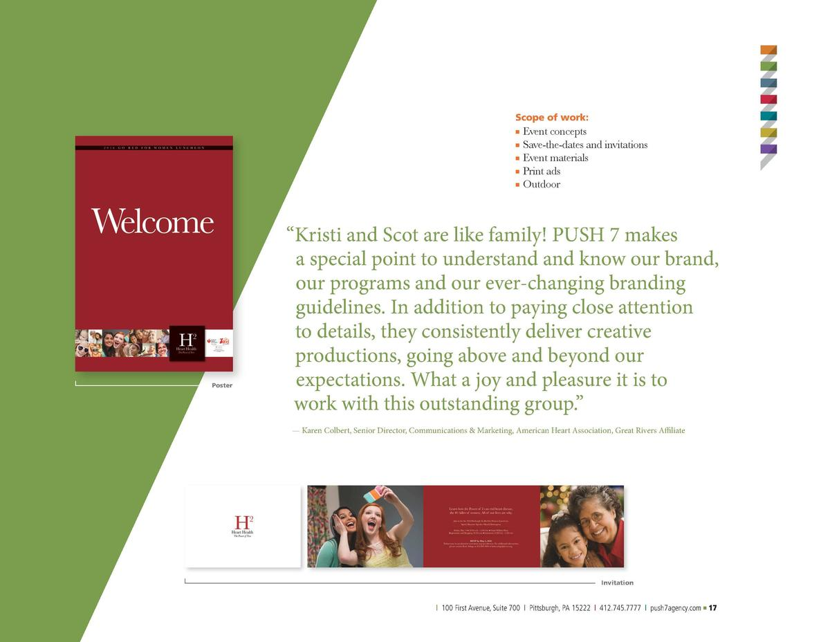 American Heart Association  Scope of work     Event concepts  n   Save-the-dates and invitations  Event materials n Print ...
