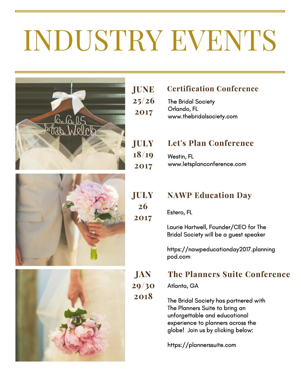 INDUSTRY EVENTS JUNE 25 26 2017  Certification Conference  JULY 18 19 2017  Let s Plan Conference  JULY 26 2017  NAWP Educ...