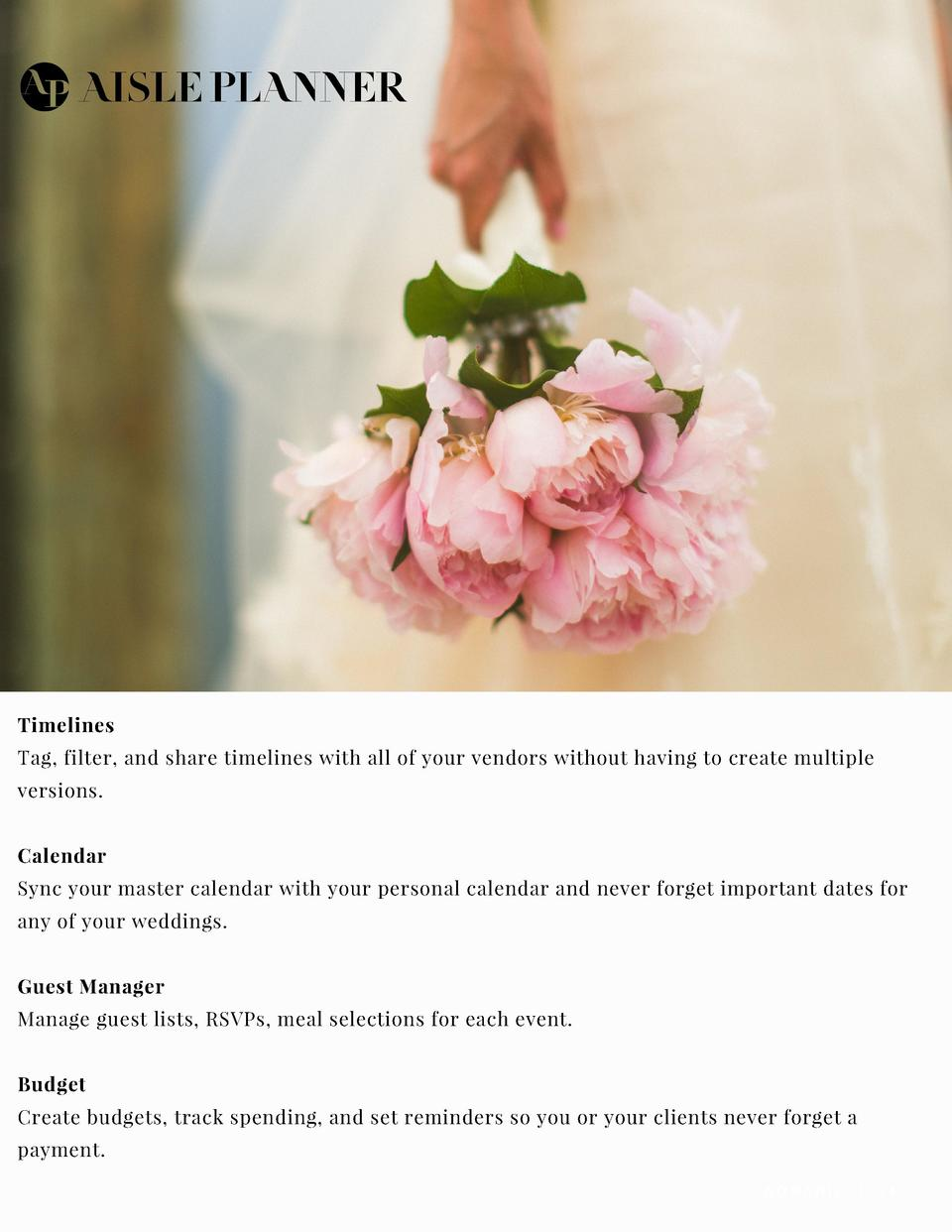 THE BRIDAL SOCIETY PARTNERS WITH   Timelines Tag, filter, and share timelines with all of your vendors without having to c...