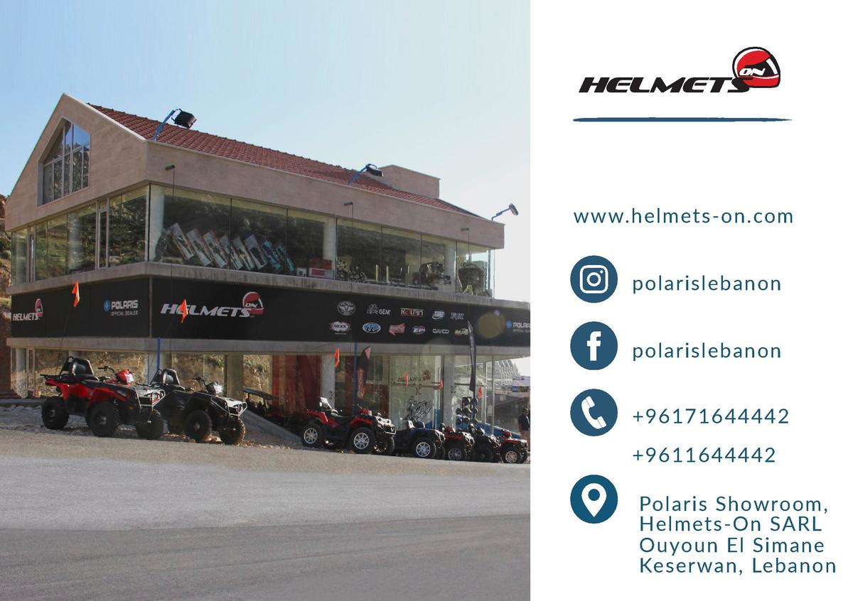 www.helmets-on.com polarislebanon polarislebanon  96171644442  9611644442 Polaris Showroom, Helmets-On SARL Ouyoun El Sima...