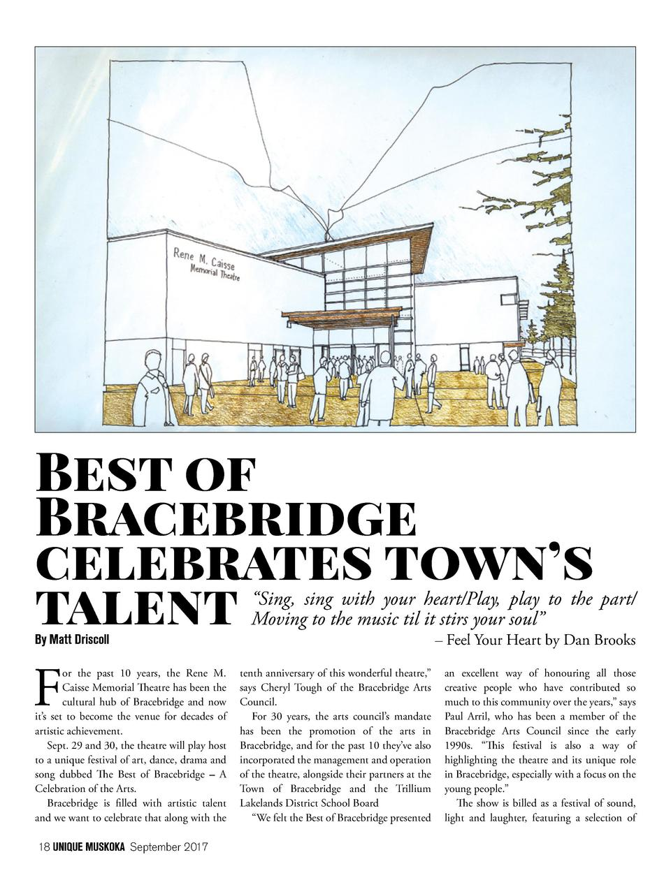Best of Bracebridge celebrates town   s talent By Matt Driscoll  F  or the past 10 years, the Rene M. Caisse Memorial Thea...