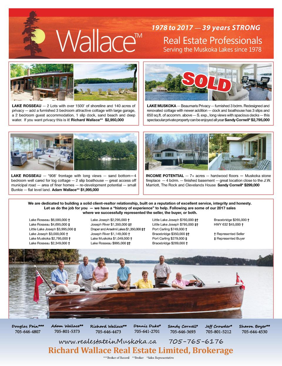 1978 to 2017     39 years STRONG  Real Estate Professionals Serving the Muskoka Lakes since 1978  SOLD LAKE ROSSEAU     2 ...