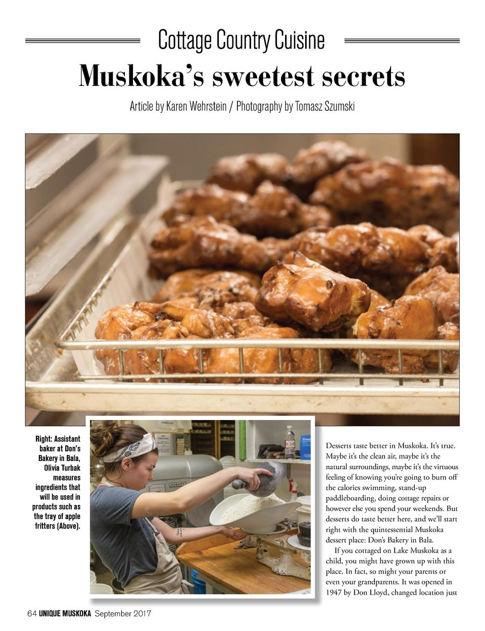 Muskoka   s sweetest secrets Article by Karen Wehrstein   Photography by Tomasz Szumski  Right  Assistant baker at Don   s...