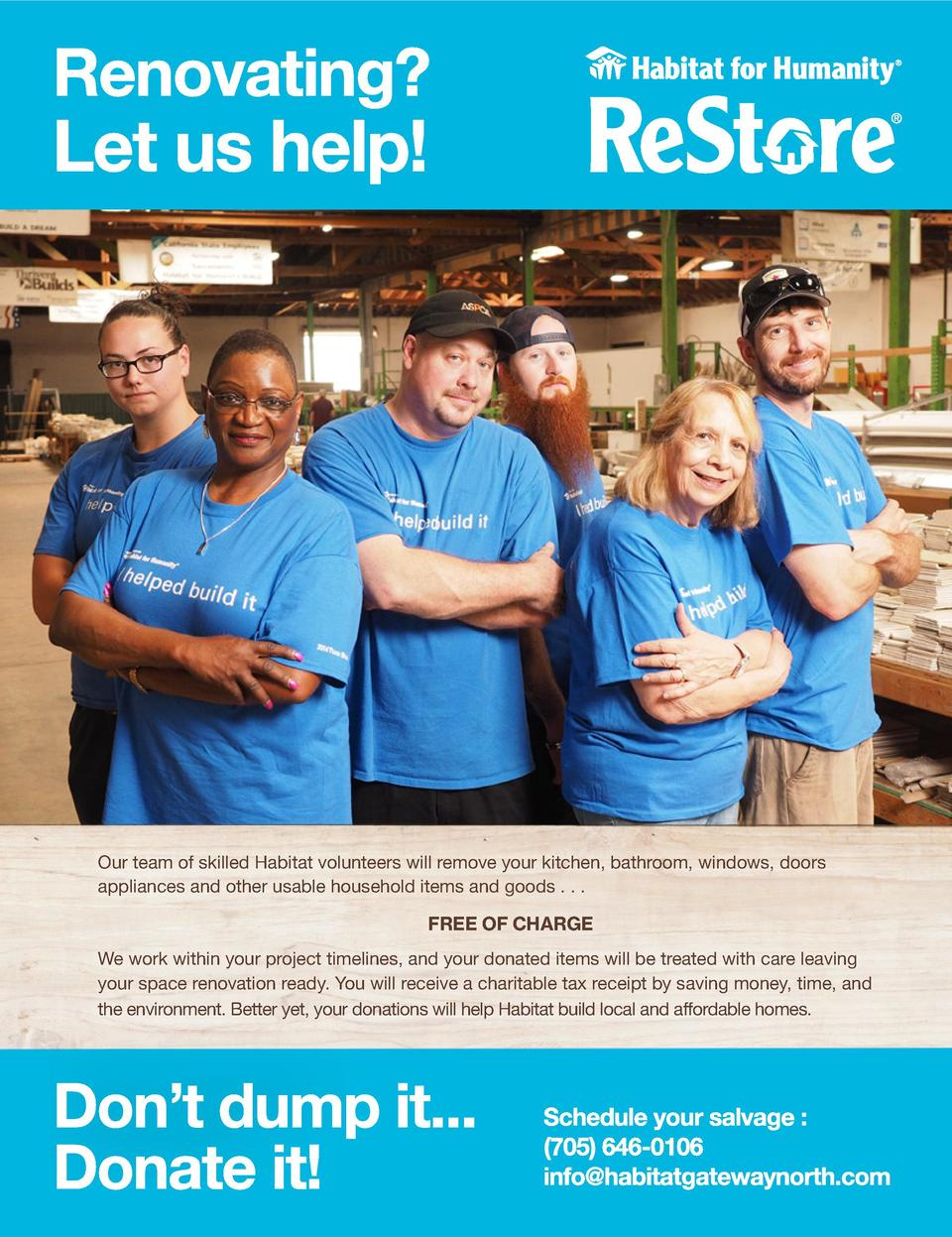FULL PAGE Habitat for Humanity  Our team of skilled Habitat volunteers will remove your kitchen, bathroom, windows, doors ...