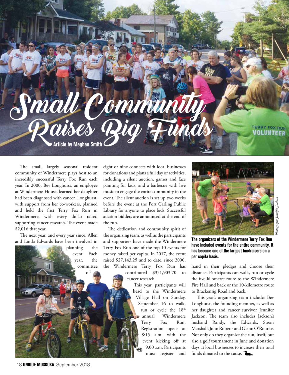 Small Community  Raises Big Funds  The small, largely seasonal resident community of Windermere plays host to an incredibl...