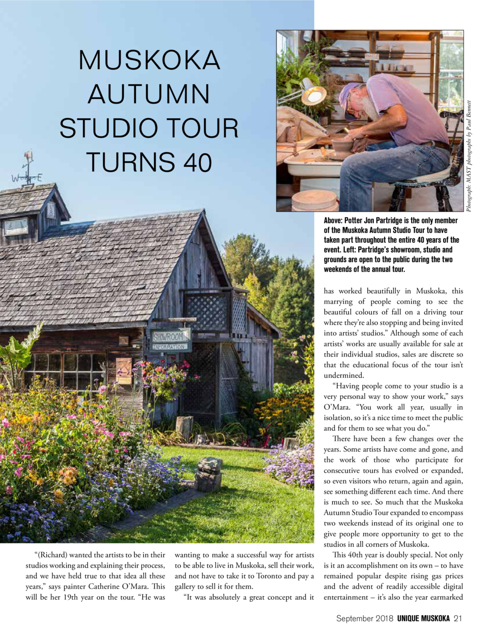Photograph  MAST photographs by Paul Bennett  MUSKOKA AUTUMN STUDIO TOUR TURNS 40 Above  Potter Jon Partridge is the only ...