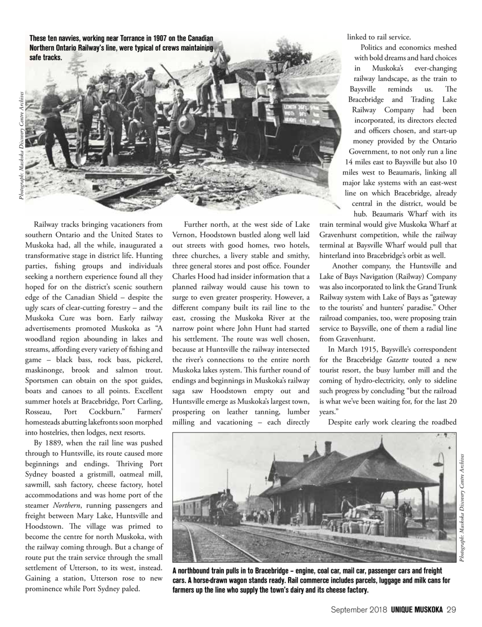 Photograph  Muskoka Discovery Centre Archives  These ten navvies, working near Torrance in 1907 on the Canadian Northern O...