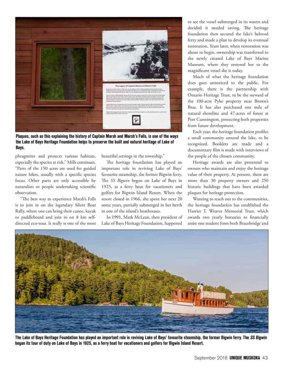 Plaques, such as this explaining the history of Captain Marsh and Marsh   s Falls, is one of the ways the Lake of Bays Her...