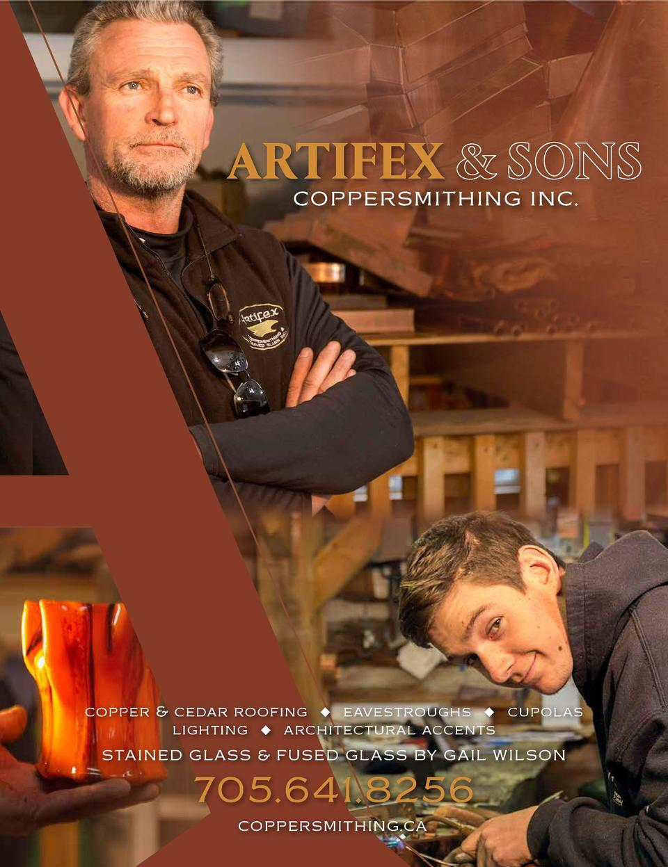 ARTIFEX  COPPERSMITHING INC.  copper   cedar roofing u eavestroughs u cupolas lighting u architectural accents STAINED GLA...