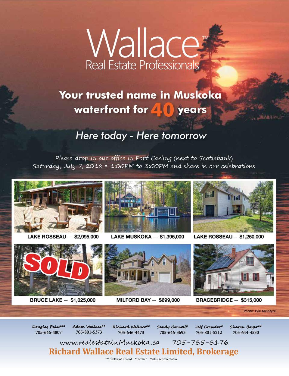 Your trusted name in Muskoka waterfront for years  40  Here today - Here tomorrow Please drop in our of   ce in Port ...