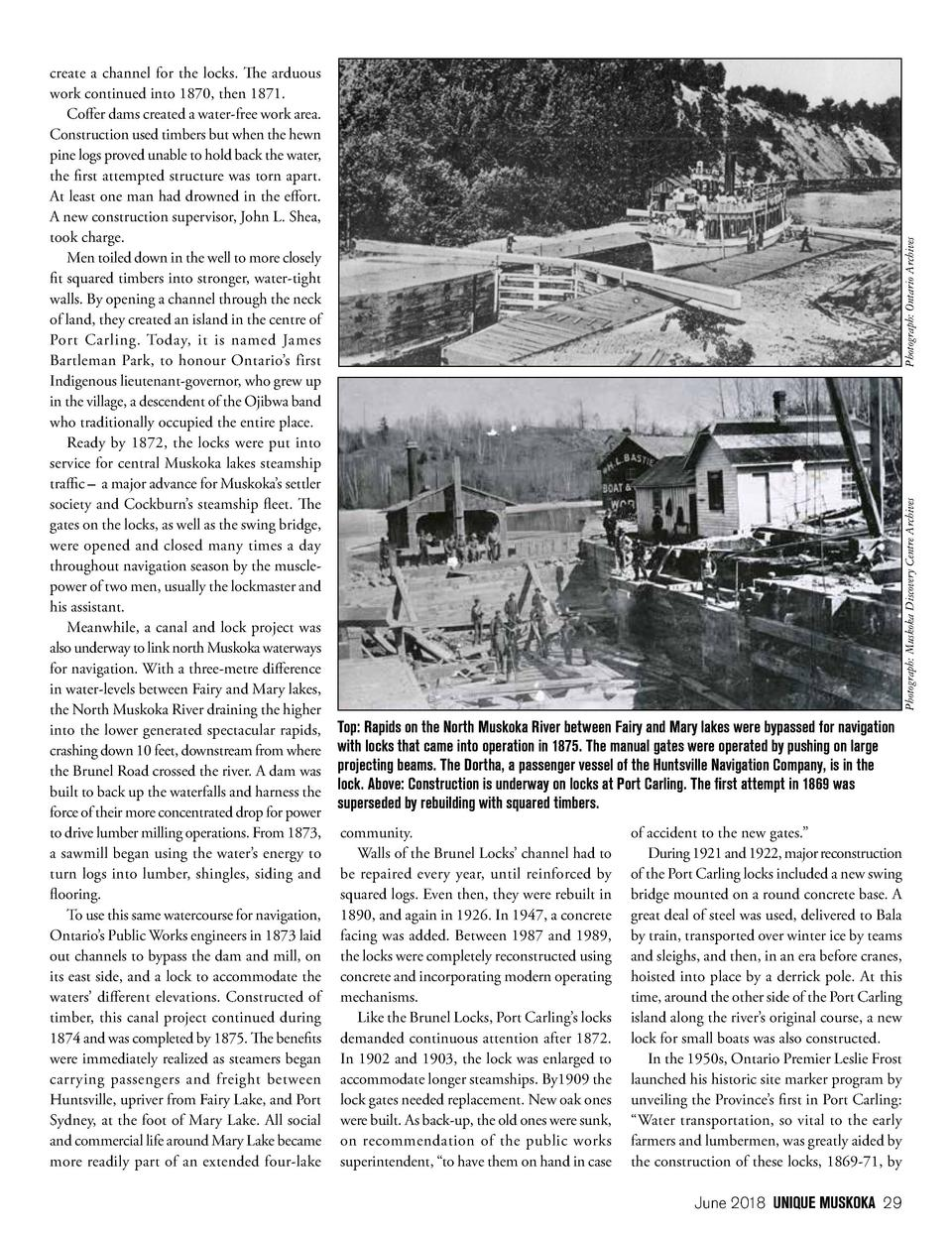 Photograph  Ontario Archives Photograph  Muskoka Discovery Centre Archives  create a channel for the locks. The arduous wo...