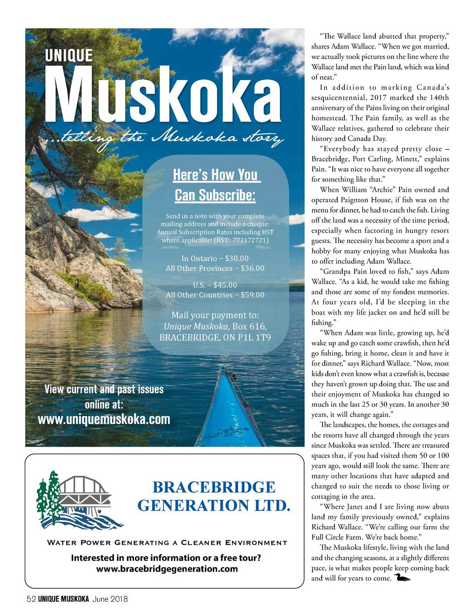...telling the Muskoka story  Here   s How You Can Subscribe  Send us a note with your complete mailing address and includ...