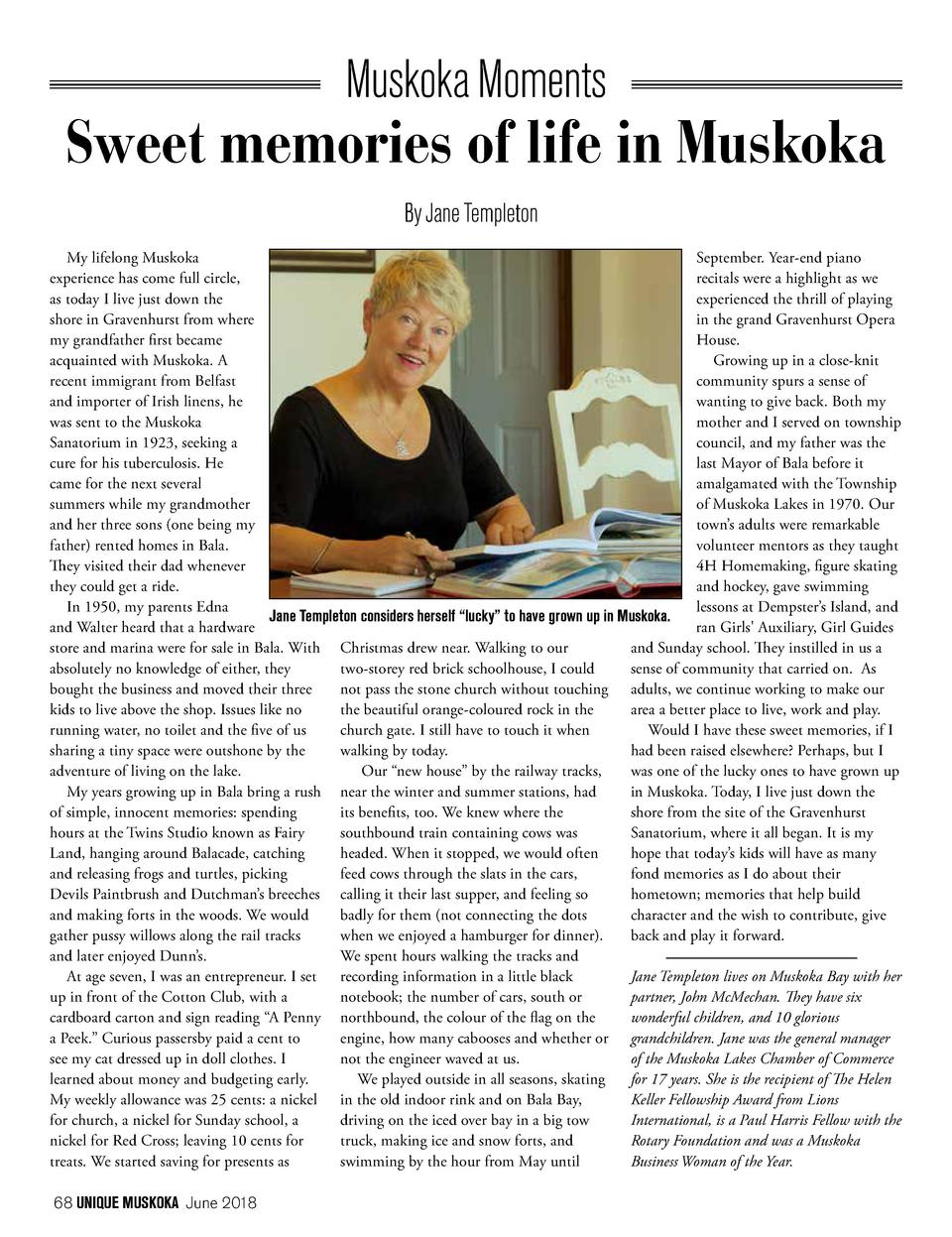 Muskoka Moments  Sweet memories of life in Muskoka By Jane Templeton September. Year-end piano My lifelong Muskoka recital...