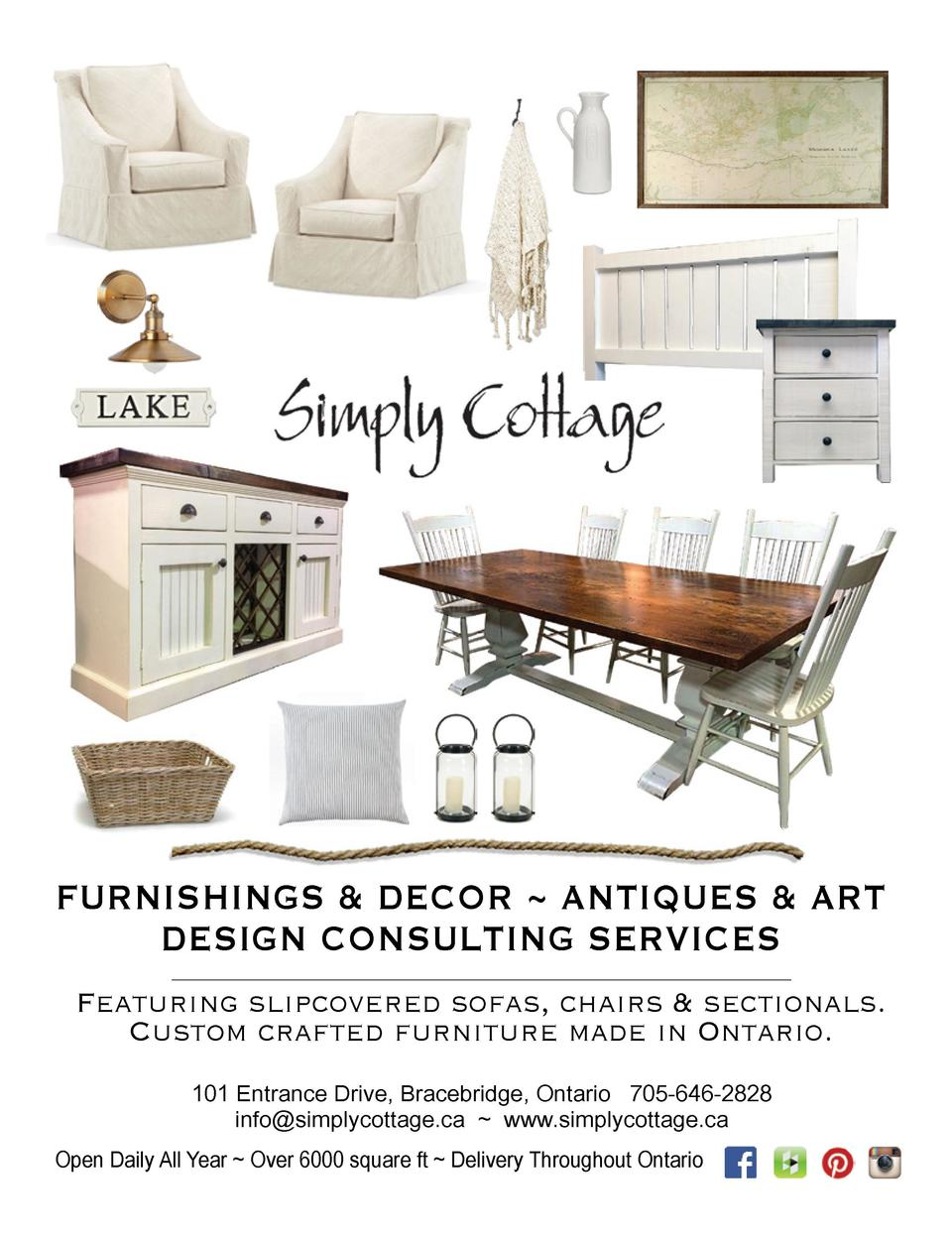 FURNISHINGS   DECOR   ANTIQUES   ART DESIGN CONSULTING SERVICES Featuring slipcovered sofas, chairs   sectionals. Custom c...