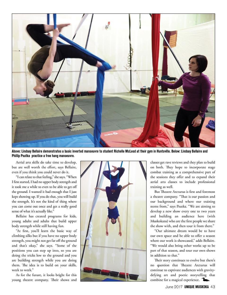 Above  Lindsay Bellaire demonstrates a basic inverted manoeuvre to student Richelle McLeod at their gym in Huntsville. Bel...